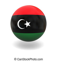 National flag of Libya on sphere isolated on white background