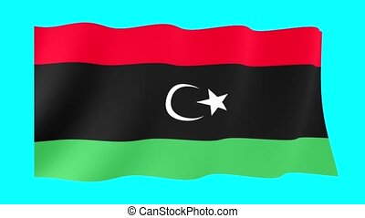 Libyan flag . Waving - Flag animation Background deleted...