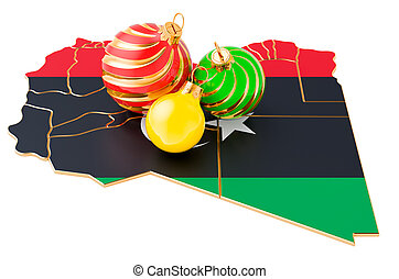 Libyan map with colored Christmas balls. New Year and Christmas holidays concept, 3D rendering