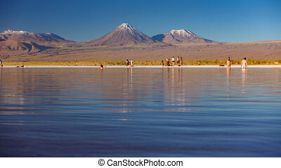licancabur, cejar, timelapse, salar, lagune, vulkaan