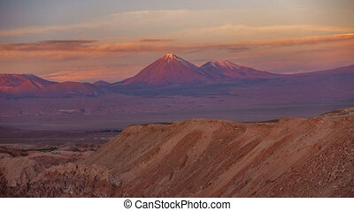 Licancabur high volcano time lapse with full moonrise at...