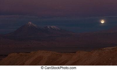 Licancabur volcano time lapse with full moonrise - Detail of...