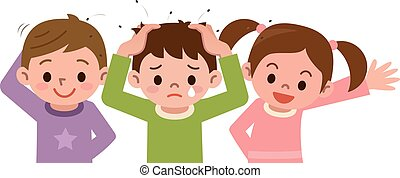 Lice and children - Vector illustration.Original paintings...