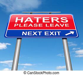 licença, concept., haters