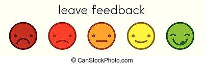 licença, feedback., votando, escala, com, cor, smileys, buttons.
