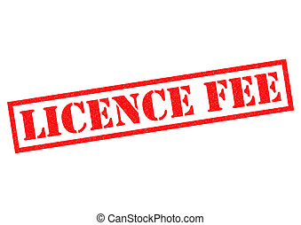 LICENCE FEE red Rubber stamp over a white background.