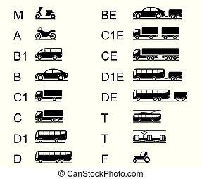 licences, diferente, veículos, estrada, dirigindo