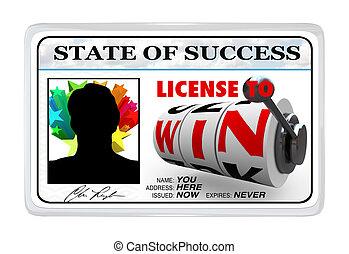 licencia, éxito, victoria, laminado, oportunidad, documentode identidad