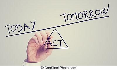 licencia, mañana, o, hoy, acto