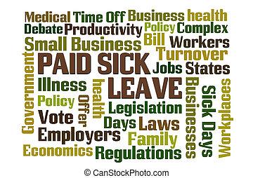 licencia, pagado, enfermo