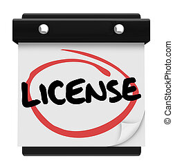 licencia, palabra, recordatorio, calendario, debido, fecha,...