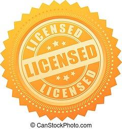 licenciado, ouro, certificado, selo