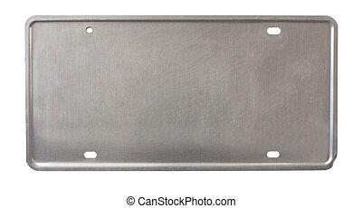 license plate back - back of license plate - brushed metal