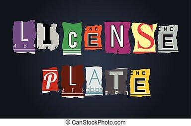 License plate word on broken car plates, vector