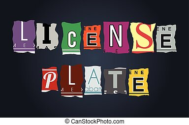 License plate word on broken car plates, vector