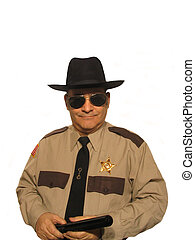 ,Part of the uniformed sheriff series, over white