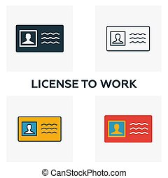 License To Work icon set. Four elements in diferent styles ...
