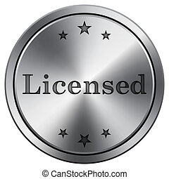Licensed icon. Round icon imitating metal.