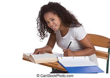 liceo, scolara, studente, con, vicino, scrivania, studiare