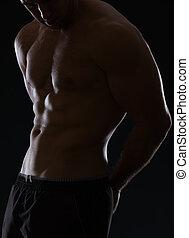 lichaam, atleet, gespierd, black , closeup, mannelijke , het tonen