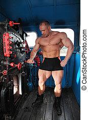 lichaam, atleet, volle, locomotief, cabine