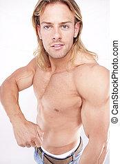 lichaam, atletisch, aannemer, lang, hair., sexy, blonde, mannelijke , gladiator