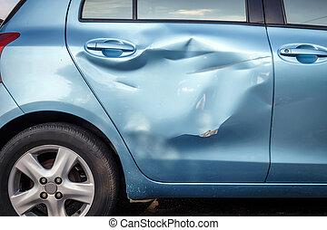 lichaam, auto-ongeluk, beschadigen, krijgen