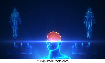 lichaam, blauwe , volle, projectie, scanderen