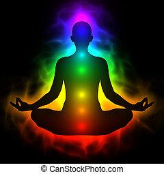 lichaam, energie, menselijk, chakra, aura, meditatie
