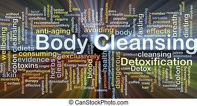 lichaam, gloeiend, concept, achtergrond, zuivering