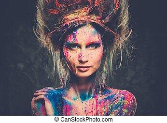 lichaam, hairdo, vrouw, kunst, jonge, muze, creatief