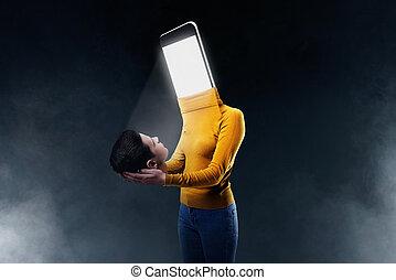 lichaam, instead, hoofd, smartphone, vrouwlijk