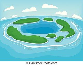 lichaam, land, illustratie, atol