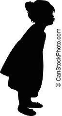 lichaam, meisje, silhouette