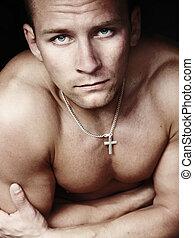 lichaam, model, mannelijke nakomeling, amaying