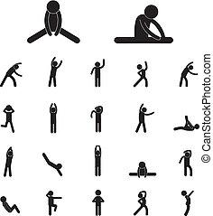 lichaam, oefening, pictogram