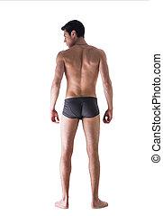 lichaam, ondergoed, volle, passen, vrijstaand, jonge, back, gezien, man