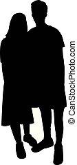 lichaam, paar, vector, silhouette