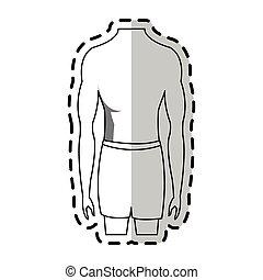 lichaam, passen, beeld, mannelijke , torso, pictogram
