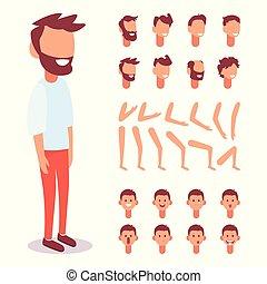lichaam, plat, set, scenes., aanzichten, creatie, karakter, sync, vector, gezicht, werken, poses., onderdelen, ontwerp, animatie, mal, emoties, gevarieerd, kerel, lip, jouw