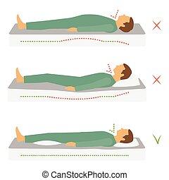 lichaam, positie, gezondheid, correct, slapende