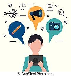 lichaam, potlood, anoniem, tablet, kleurrijke, iconen, bovenzijde, fototoestel, toespraak, helft, bellen, megafoon, man