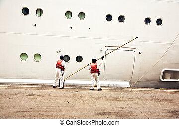 lichaam schilderstuk, werkmannen , schepen
