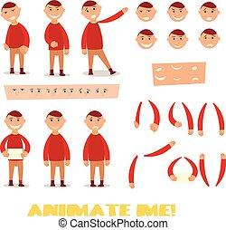 lichaam, set, scenes., animation., werken, karakter, onderdelen, ontwerp, pupil, mal, jouw