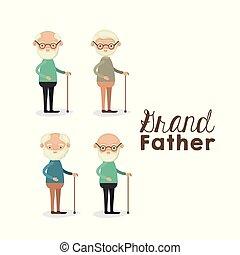 lichaam, set, tekst, bejaarden, grootvader, volle, achtergrond, witte , man