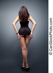 lichaam, sexy, vrouw, benen, lang