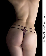 lichaam, sexy, vrouw, touwtje
