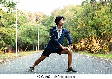 lichaam, slijtage, zijn, werkende , positief, beeld, stretching, park, bomen, groene, aziaat, kerel, brillen, ongedwongen, uit