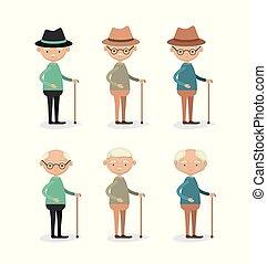 lichaam, staand, set, grootvader, volle, achtergrond, witte