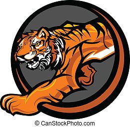lichaam, tiger, vector, mascotte, grafisch